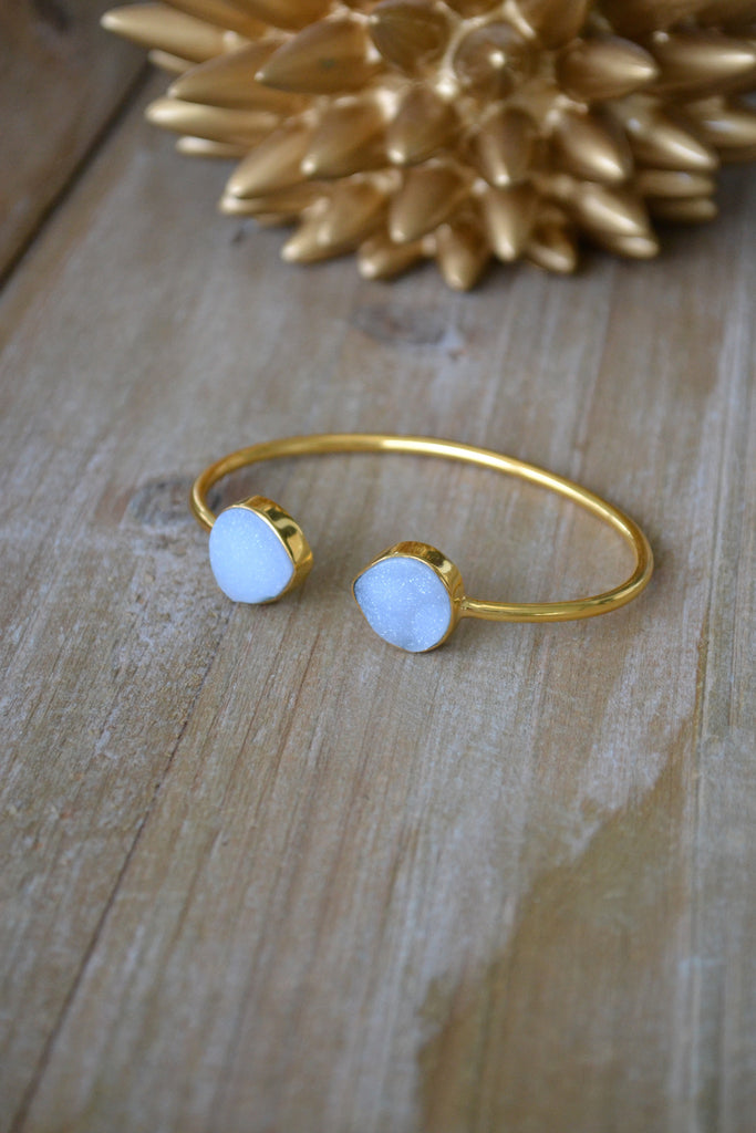 Light Blue Druzy Teardrop Bangle