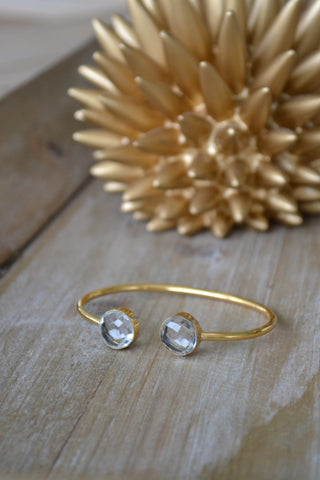 Crystal Quartz Faceted Round Bangle