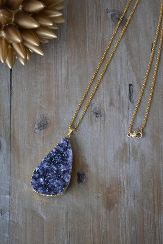 Large Dark Amethyst Druzy Necklace
