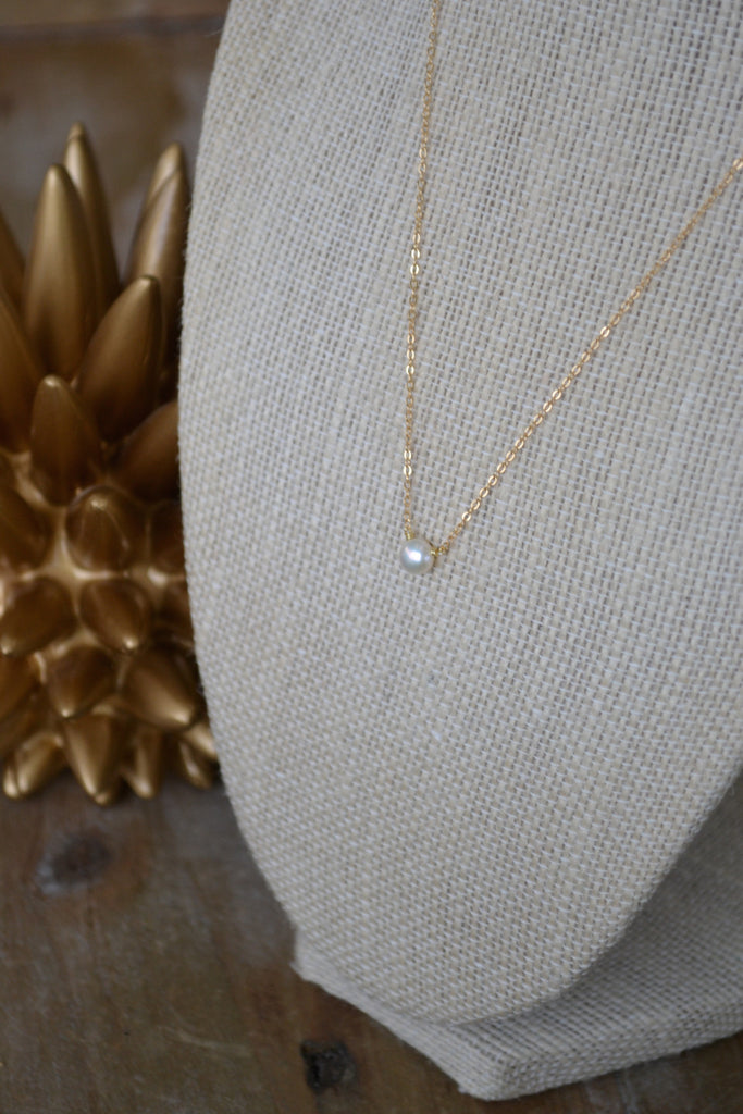 Tiny White Coin Pearl Necklace
