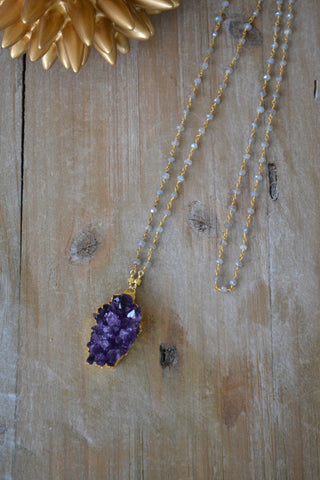 Amethyst and Labradorite Druzy Necklace