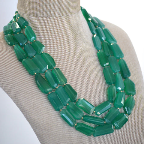 Green Onyx Triple Strand Necklace