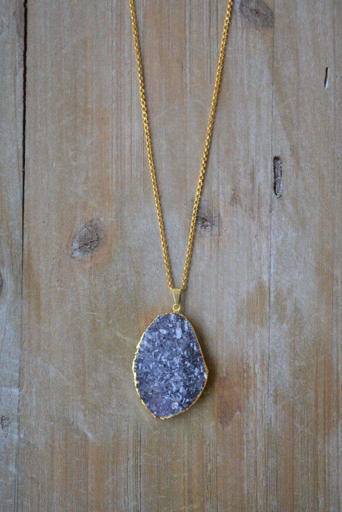 Large Blue/Gray Agate Druzy Necklace