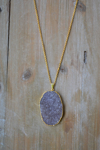 Large Smokey Gray Druzy Necklace