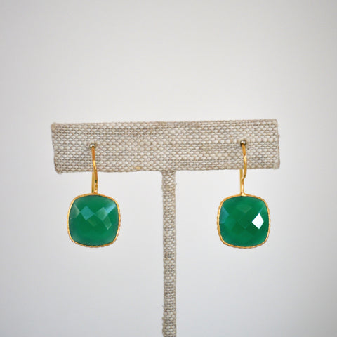 Green Onyx Cushion Cut Drop Earrings