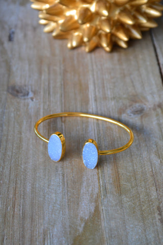 Blue Oval Druzy Bangle