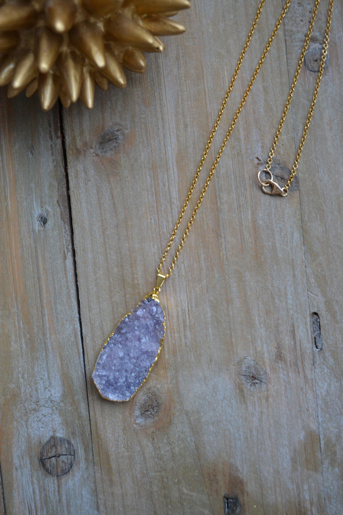 Large Light Purple Amethyst Druzy Pendant Necklace