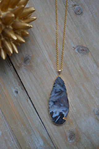 Agate Slice Pendant Necklace