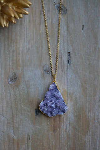 Large Light Amethyst Druzy Necklace