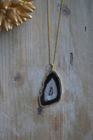 Black Striped Agate Slice Necklace