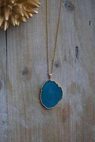 Blue Agate Slice Pendant Necklace