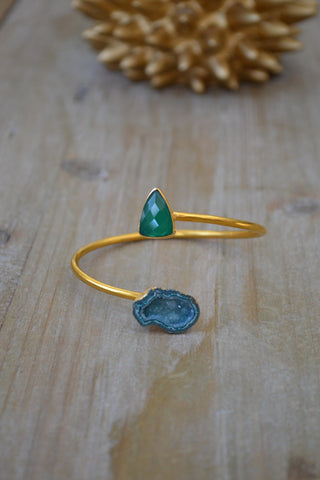 Green Onyx and Green Geode Bangle