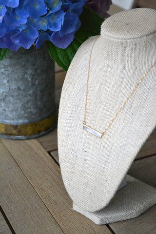 Gold Mother of Pearl Bar Necklace