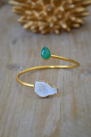 Green Onyx and White Geode Bangle