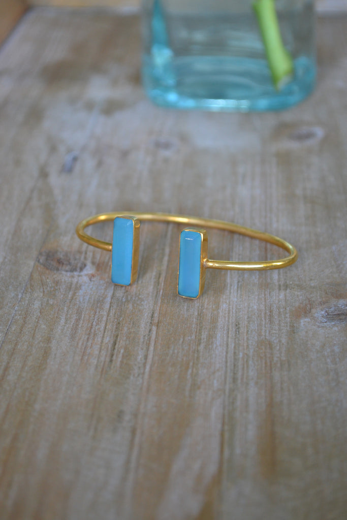 Blue Chalcedony Baguette Bangle