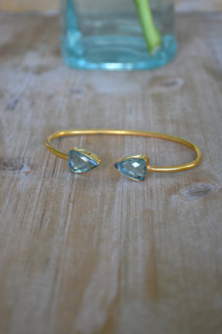 Aqua Quartz Arrow Bangle