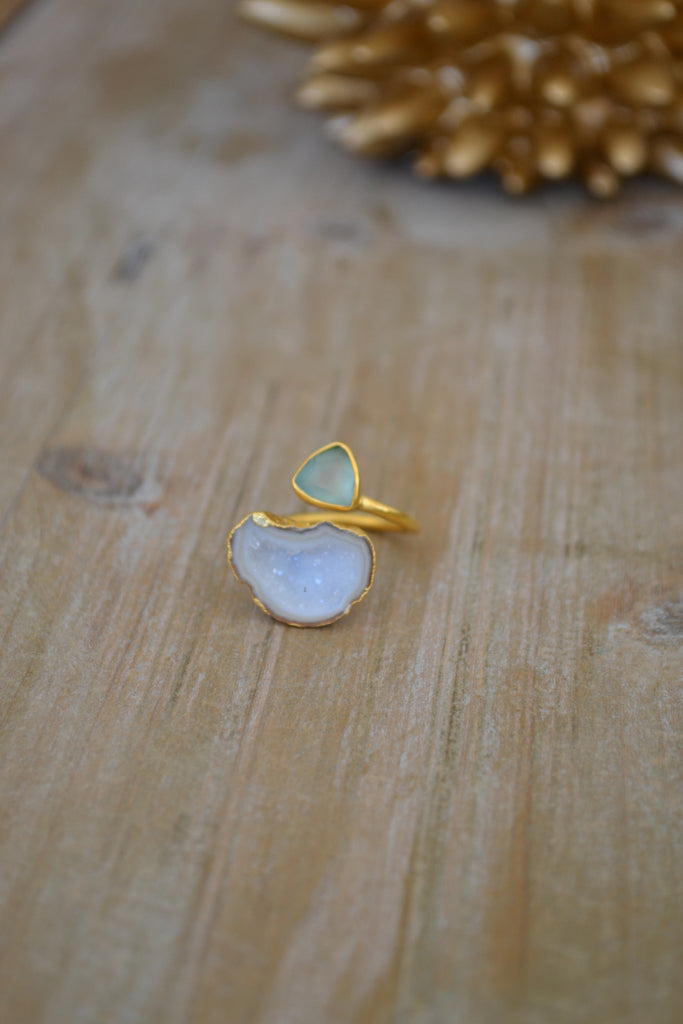 Seafoam Green Chalcedony & White Geode Ring