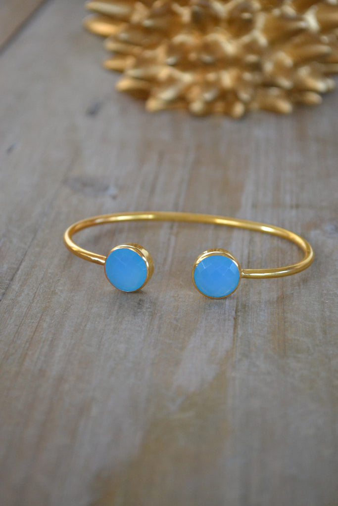Blue Chalcedony Round Bangle