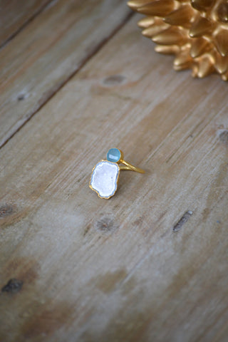 Blue Chalcedony & White Geode Ring