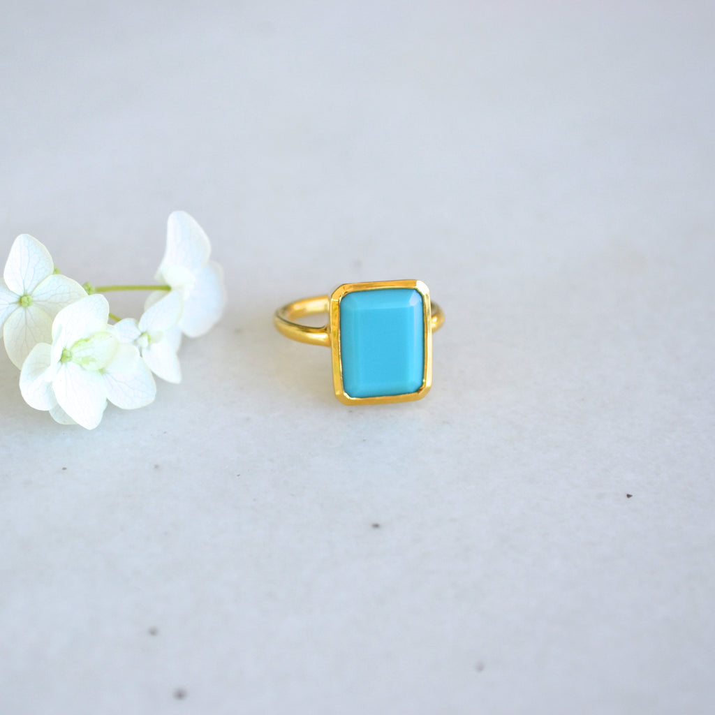 Emerald Cut Cocktail Ring - Turquoise