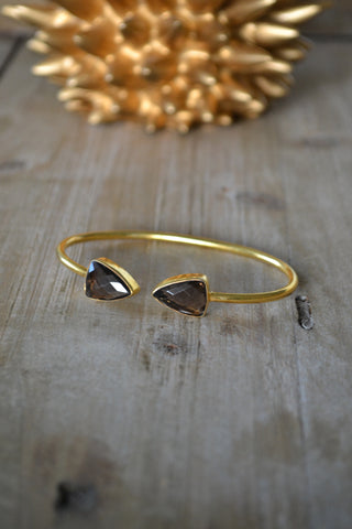 Smokey Quartz Arrow Bangle