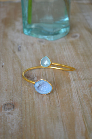 Aqua Chalcedony and Light Aqua Geode Bangle