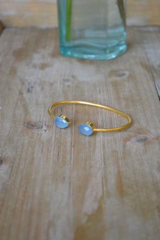 Blue Chalcedony Drop Bangle