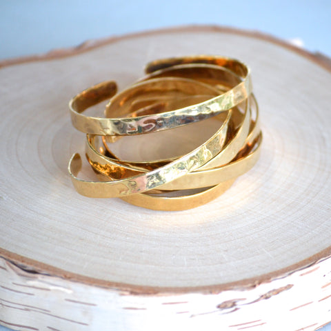 Thin Hammered Cuff - Gold
