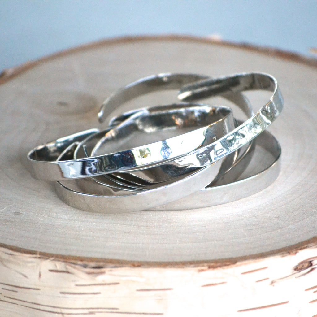 Thin Hammered Cuff - Silver