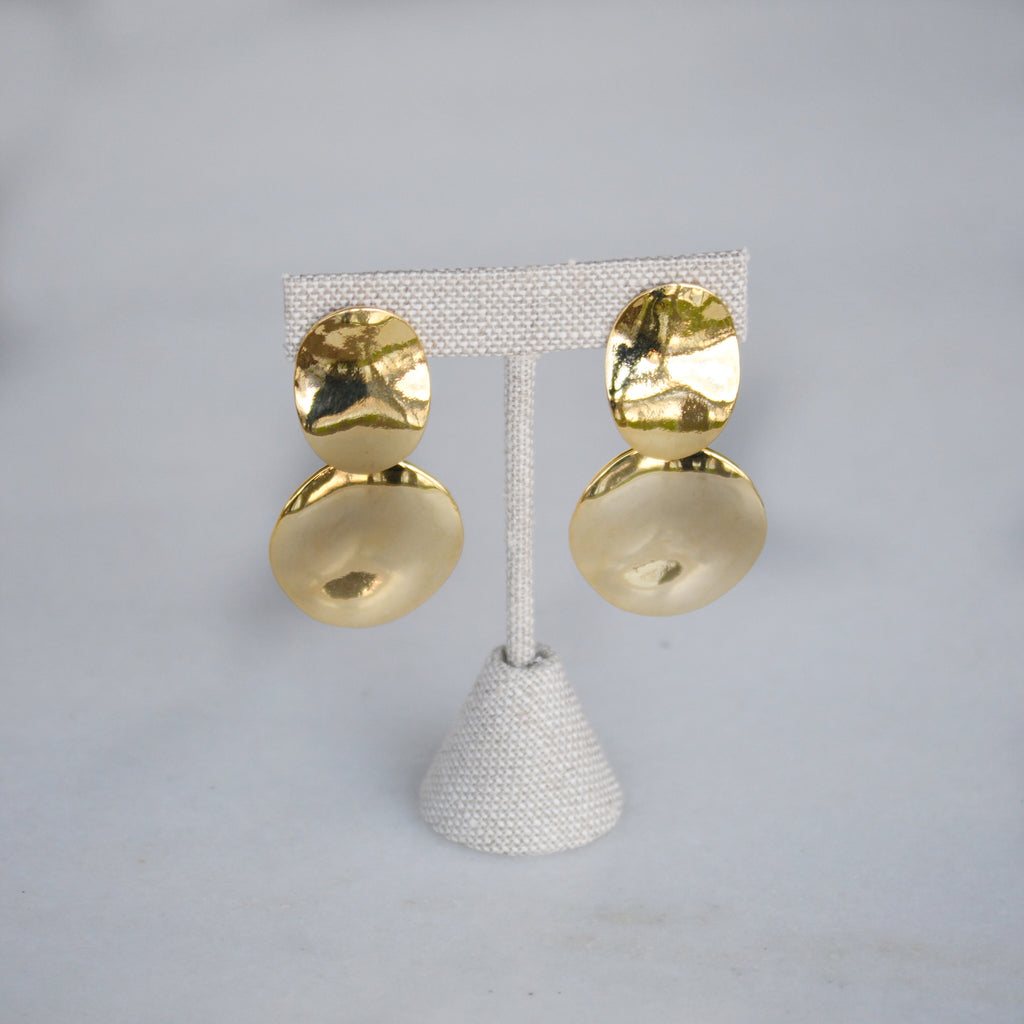 Wavy Double Polished Gold Cocktail Earrings