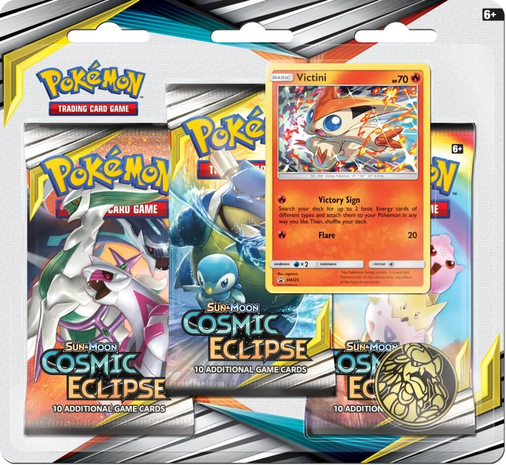 POKÉMON TCG Cosmic Eclipse Three Booster Blister - Victini - The Mythic Store | 24h Order Processing | The Mythic Store