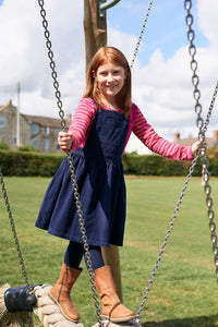Cord Pinafore Dress - Navy