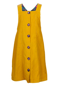 Cord Button Through Dress - Ochre