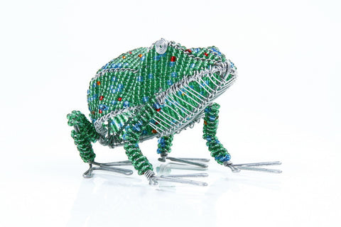 Medium & Small Green Beaded African Frog handcrafted in Africa