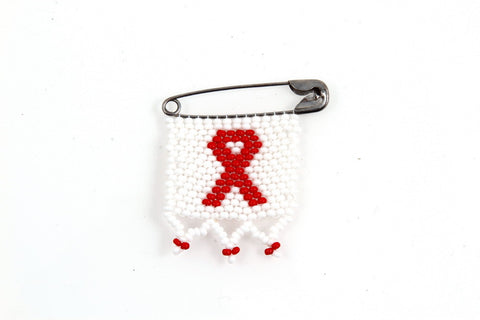 Pin - AIDS Ribbon, Beaded, Small