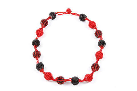Necklace - Bauble, Red and Black, Medium