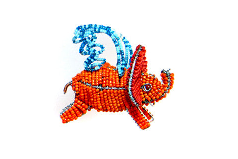 Ornament - Flying Elephant, Beaded, Multi-Colored