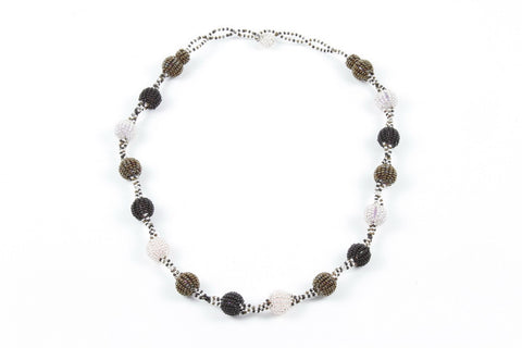 Necklace - Bauble, Black Silver and Bronze