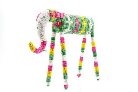 Green and White African Beaded Elephant from South Africa