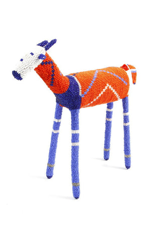 Blue and Orange African Beaded Impala from South Africa