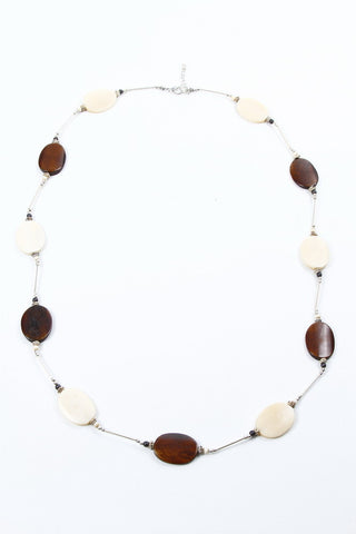 Necklaces - Bone, Brown/Cream Ovals