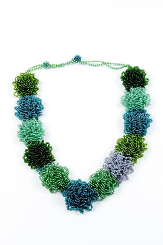 Necklace - Flowers, Beaded, Green