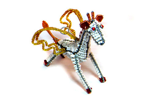 Ornament - Flying Giraffe, Beaded, White