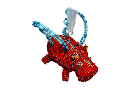 Ornament - Flying Hippo, Beaded, Red