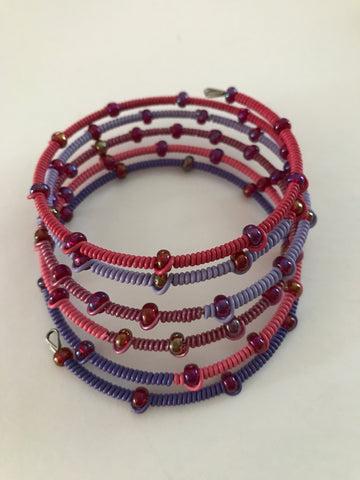 Bracelet - Telephone Wire, Beaded Spiral
