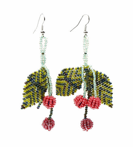 Earrings - Beaded, Cherry