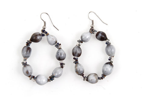 Earrings - Sea Bead, Hoop