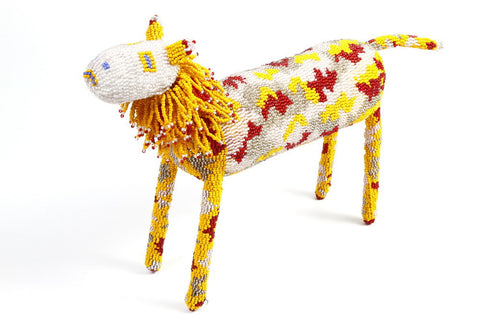 Multicolor Beaded African Lion crafted by hand in South Africa