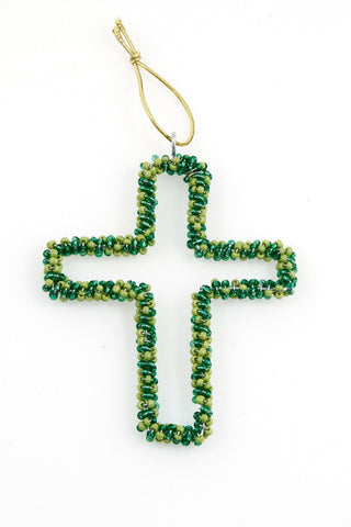 Ornament - Cross, Beaded, Green