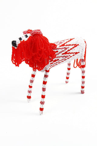 Red Beaded African Lion handcrafted in Africa